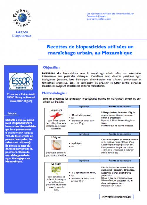 Cette fiche de retours d'expériences synthétique proposée par ESSOR et la fondation Ensemble présente des recettes de biopesticides.